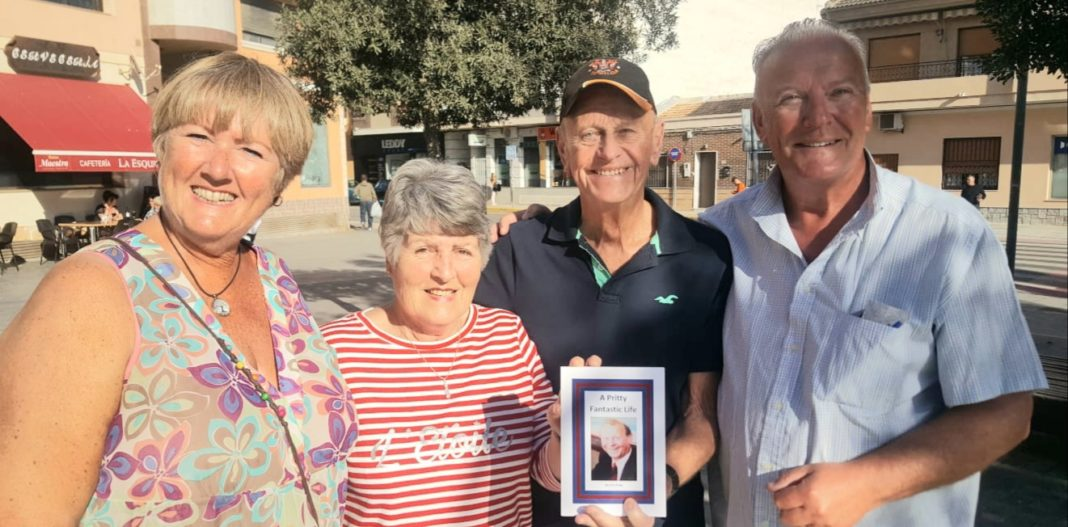 Helen Atkinson, Doris and David Pritty with his biography and Andrew Atkinson in Los Montesinos.