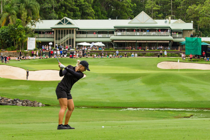 Stephanie Kyriacou hits into the 18th green