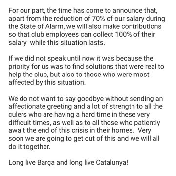 A translation of the statement made by Messi