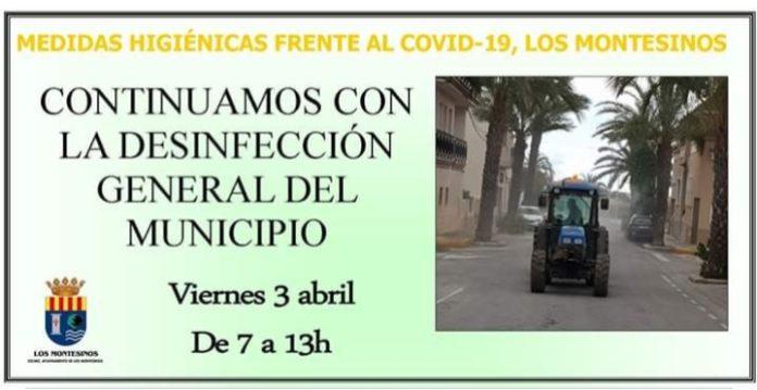 Ayuntamiento de Los Montesinos to undertake another disinfecting on April 3