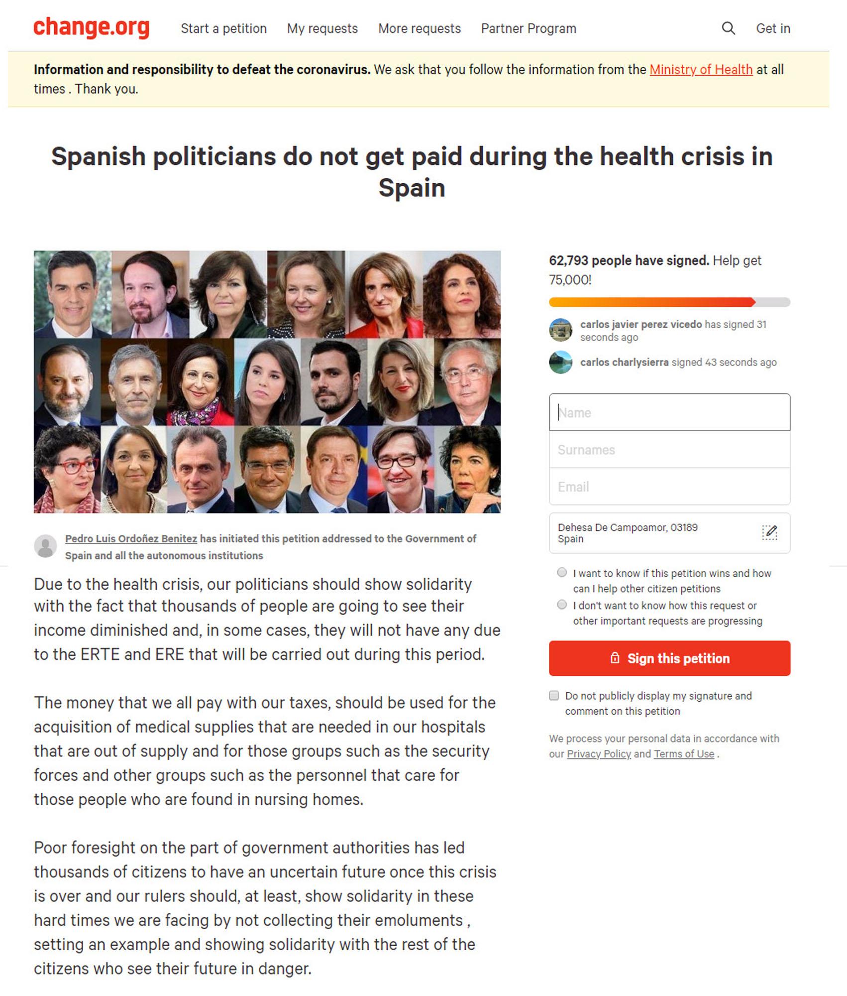 Petition demands that Spain Politicians relinquish salaries during crisis