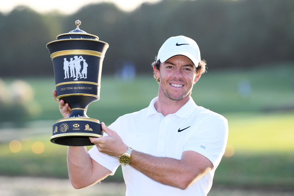 Rory McIlroy hoists the Old Tom Morris Cup after the final round of the WGC HSBC Champions in Shanghai.