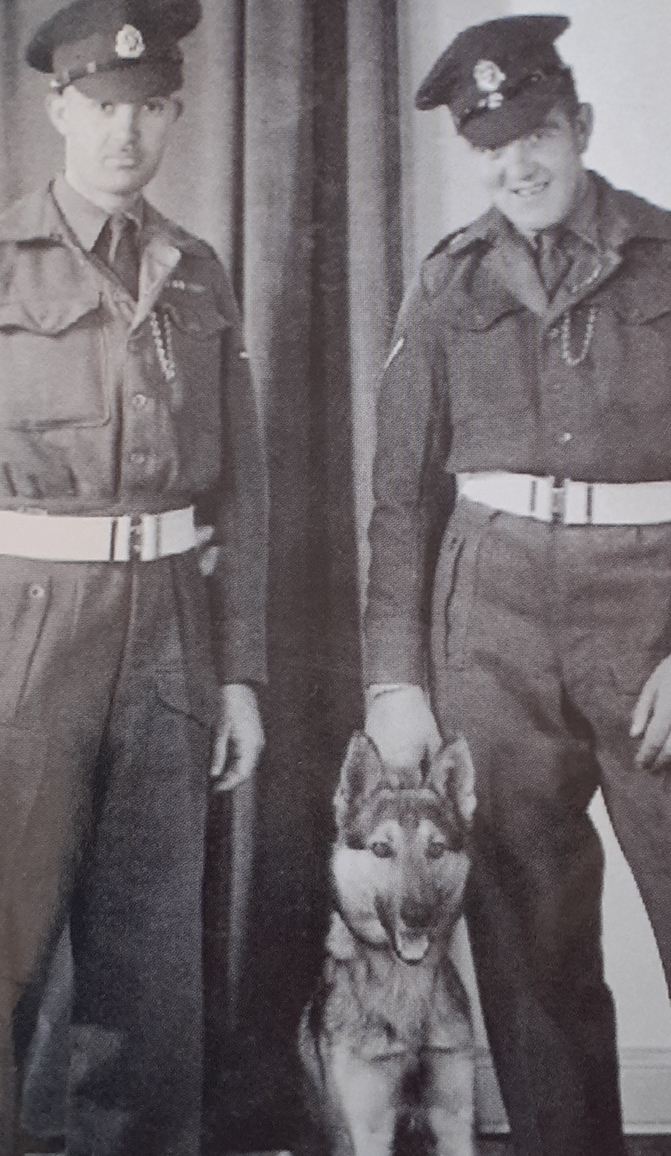 Military police Jim and Des with Tref the dog.