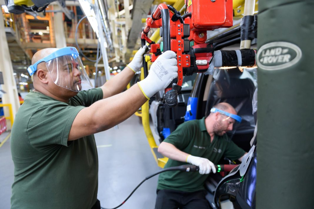 Distancing measures comes off Jaguar Land Rover's Solihull production line