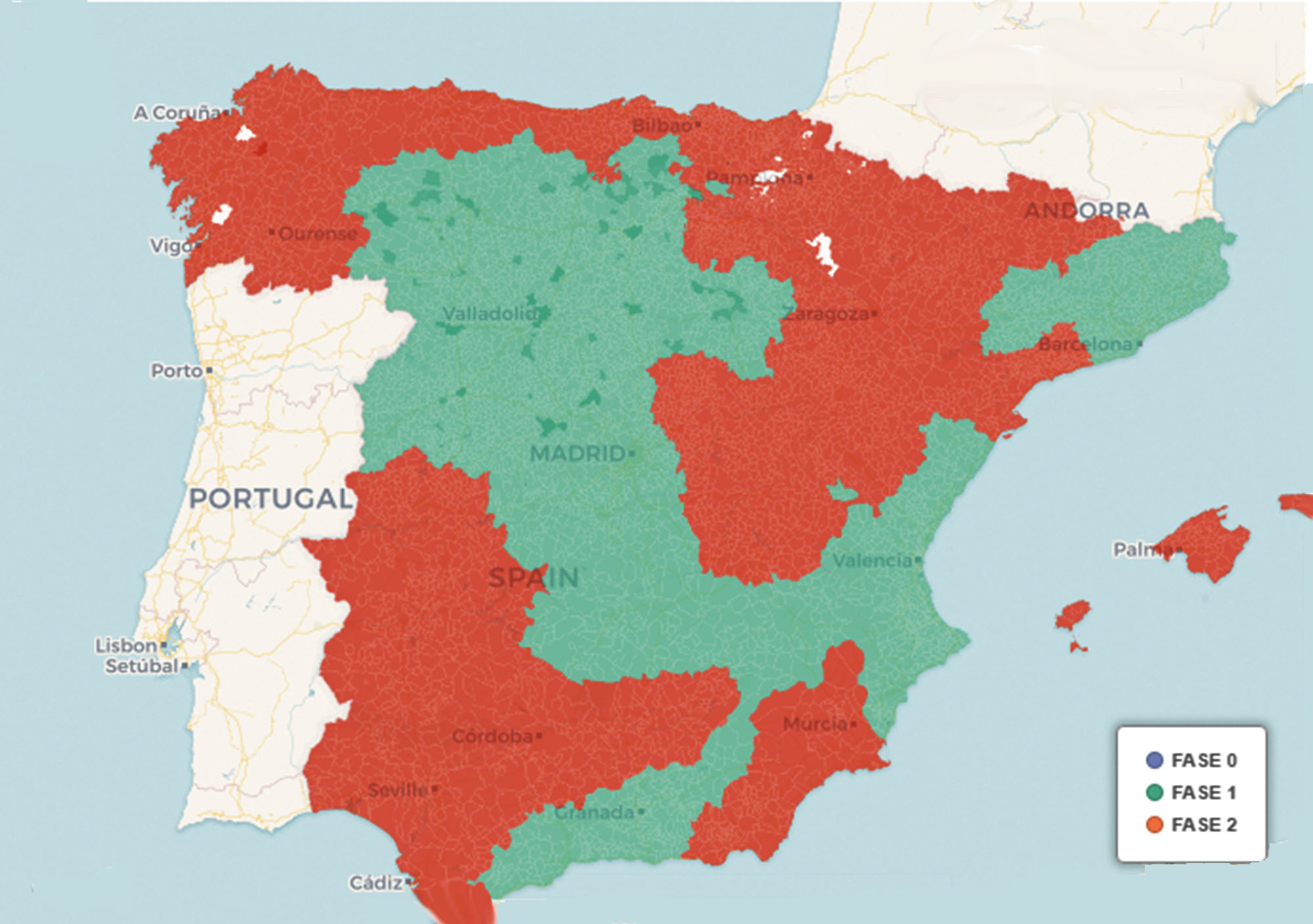 47% of Spain goes to phase 2 on Monday while Madrid, Barcelona and Castilla y León go to phase 1