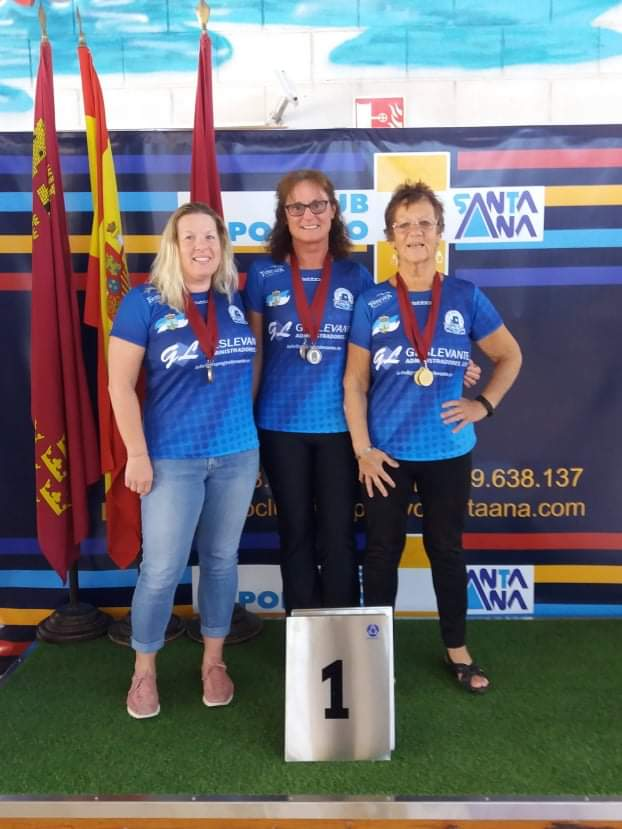 Club Natacion Torrevieja Masters swimmers (left to right) Christine Johnson, Vicki Connolly and Beryl Altabas, medal winners at the 2020 IV Campeonato Regional Open Masters in Santa Ana, Murcia on March 7, prior to lockdown.