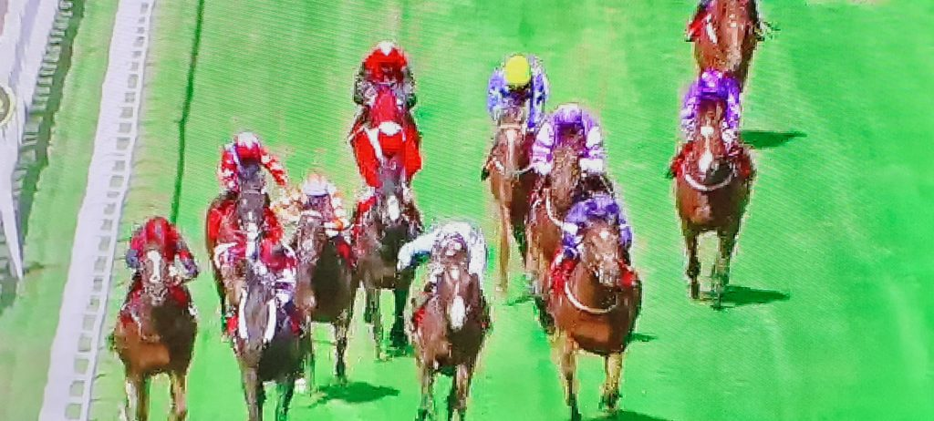 Nuits St Georges (far left) thwarts Leoncavallo by a nose at Sandown.