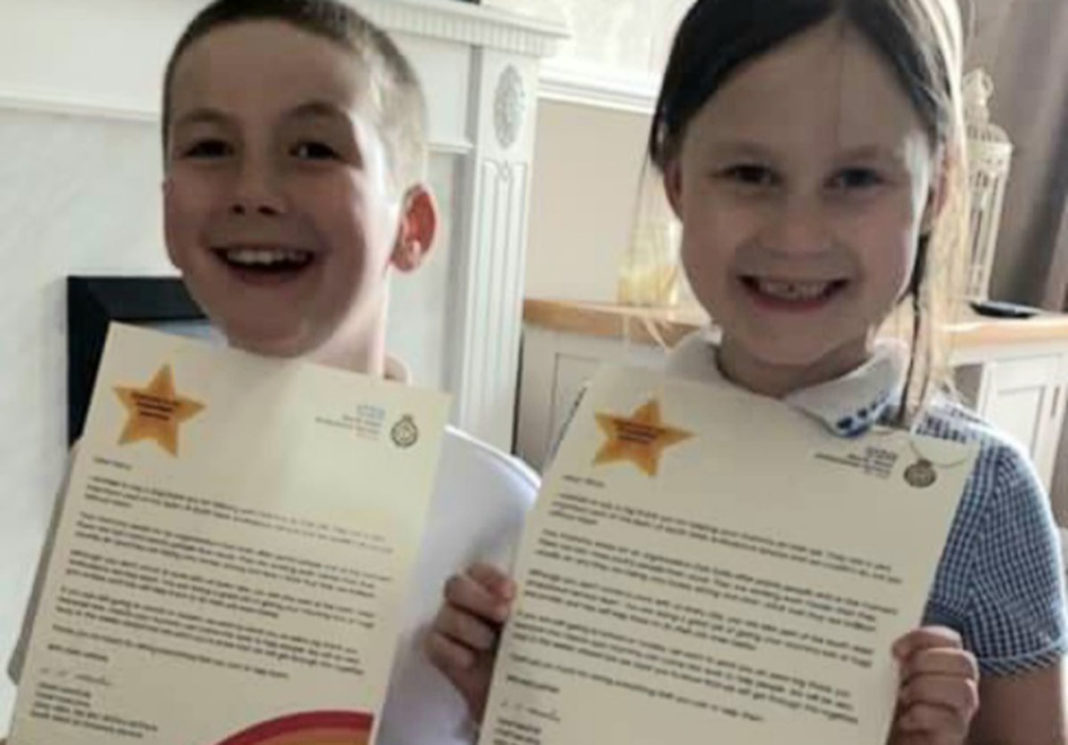 Harry and Olivia 'superstars' with personal letters from NW Ambulance Service.