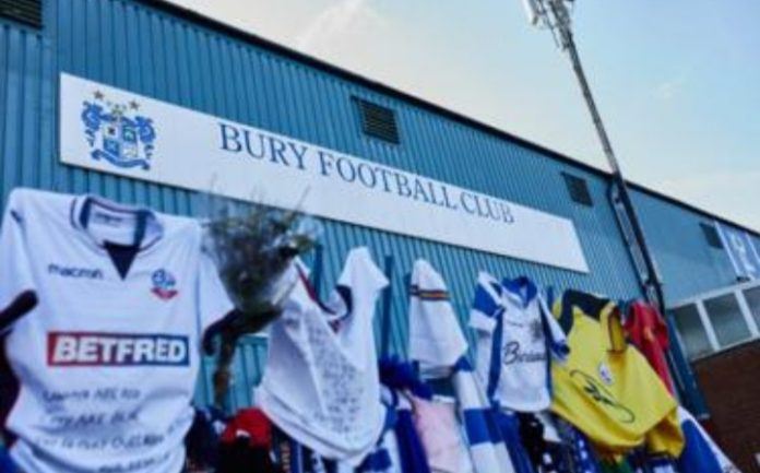 Bury FC stadium amid being ejected from the football league.