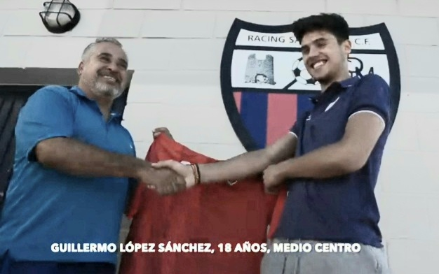 Manager Wille with new signing teenager Guillermo Lopez