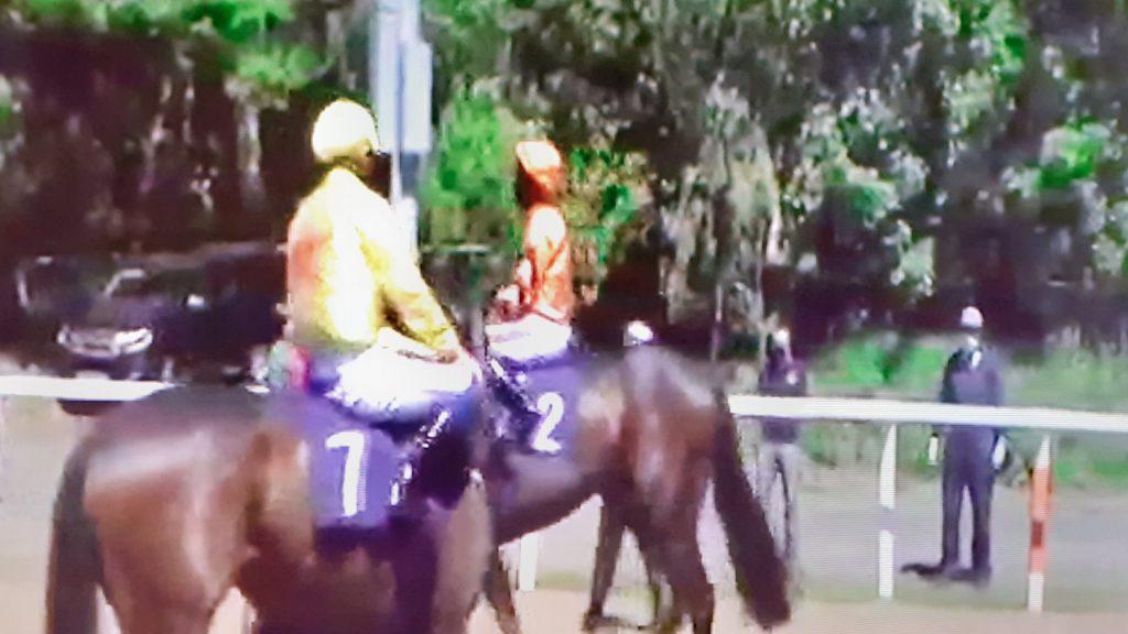 Jockeys wore face masks as racing returned at Newcastle.