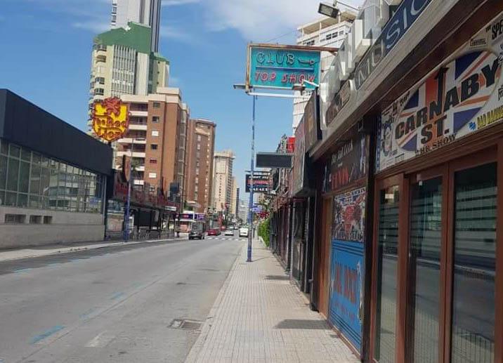 Deserted streets in Benidorm.