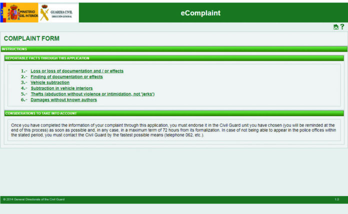 Denuncias may now be submitted to the Guardia Civil electronically