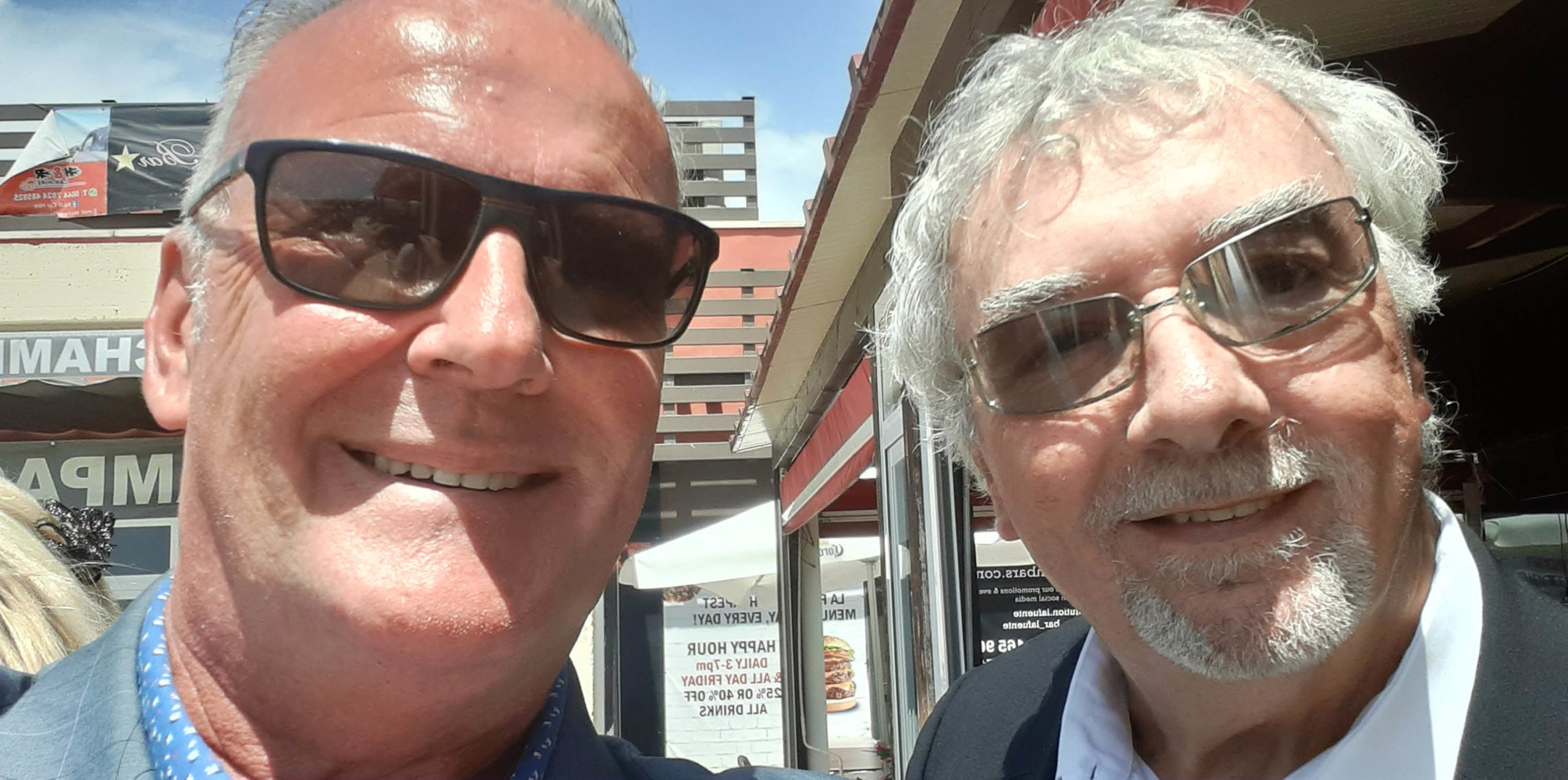 John Virgo with Andrew Atkinson after the service