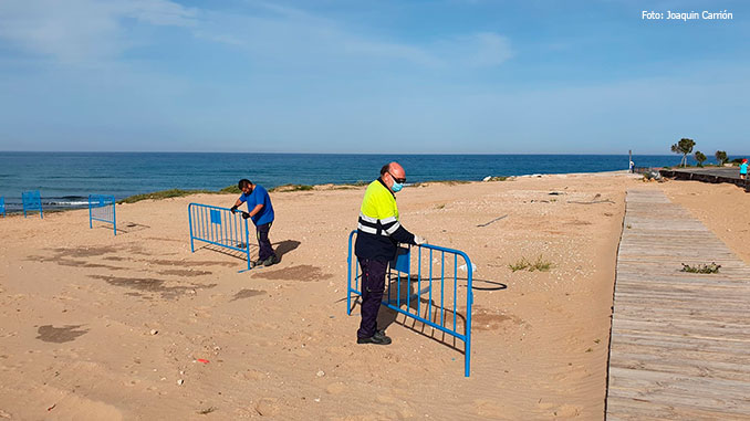 Getting the beaches ready for the public