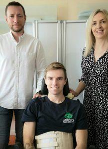 Jacob Pritchard Webb with his parents Matt and Kelly. Photo: Matt Webb.
