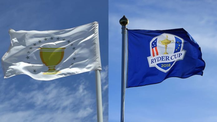 The Presidents Cup and Ryder Cup flags. (Getty Images)