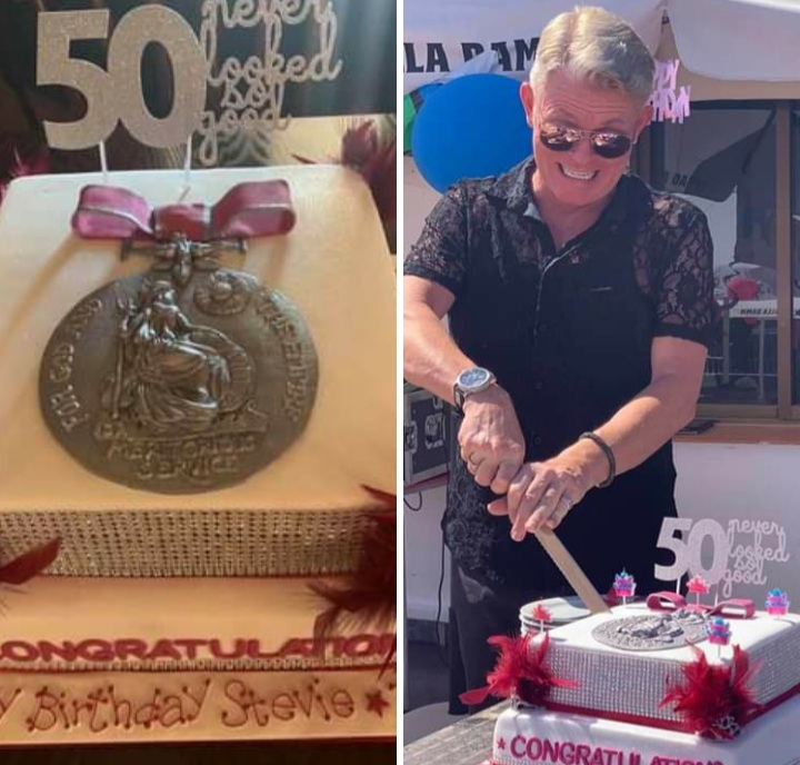 Stevie Spit celebrated his 50th birthday this summer with a cake adorned with a BEM.