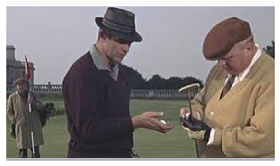 The young Sean Connery had to take golfing lessons before filming the scene to make it look authentic. It started his life-long love affair with golf.