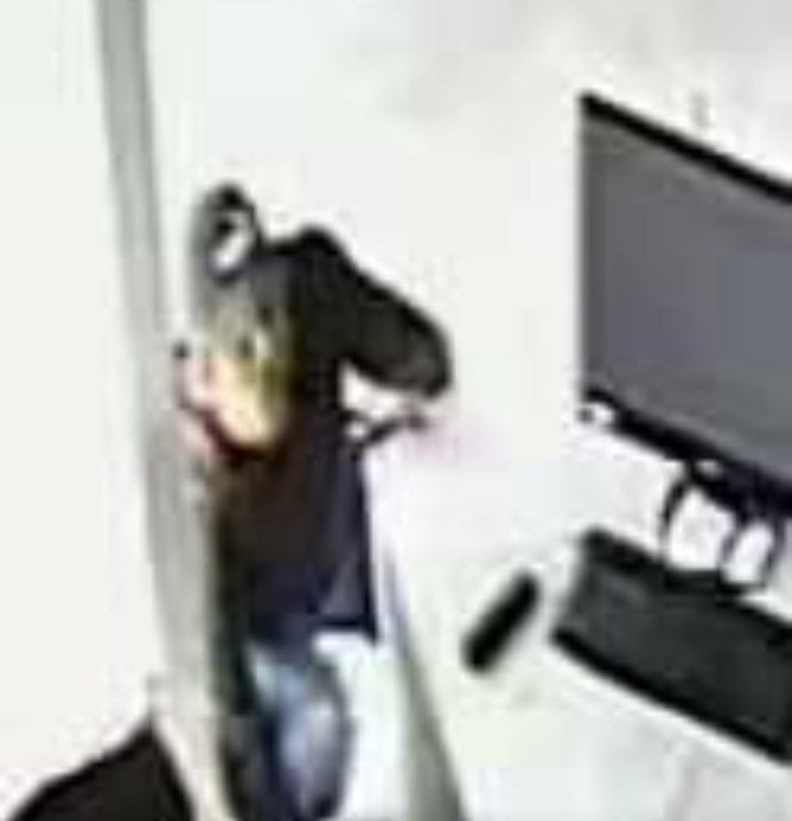 Thief enters the premises caught on CCTV.