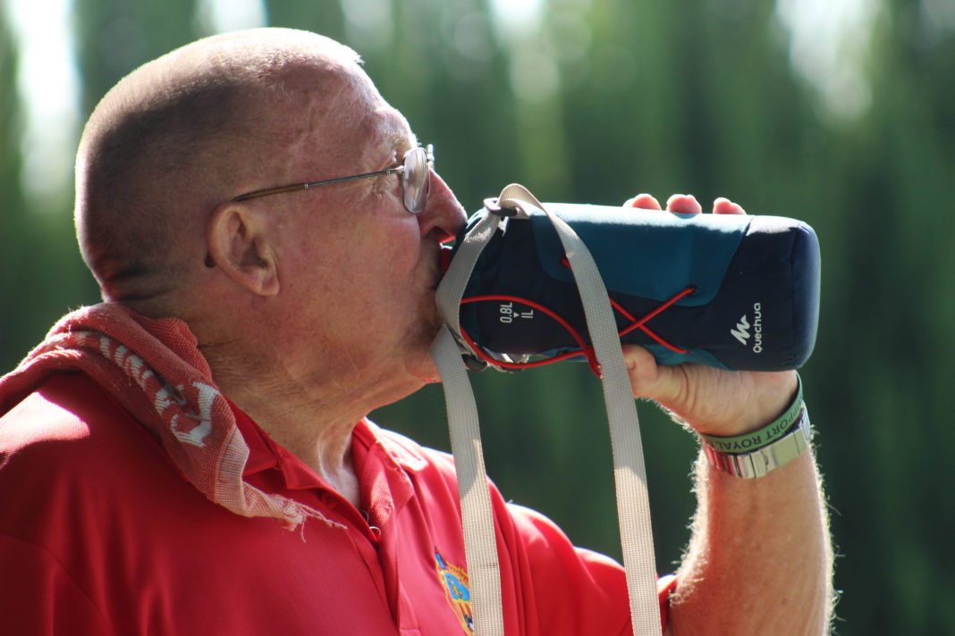 Thirsty work for Eddie Cowan at The Valencian Bowls Championship