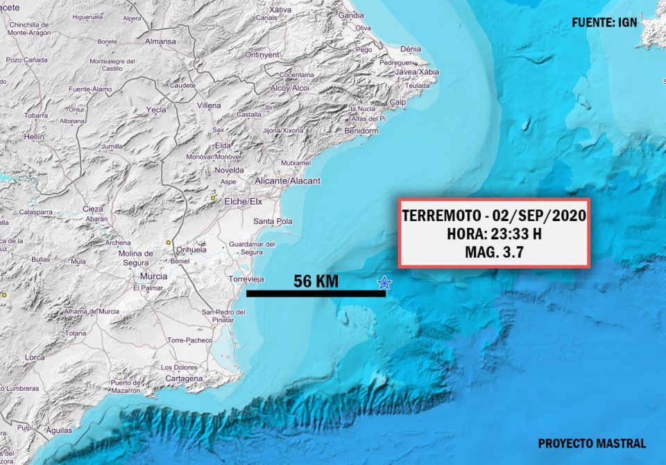 An earthquake 56 km off the coast of Torrevieja makes the region tremble