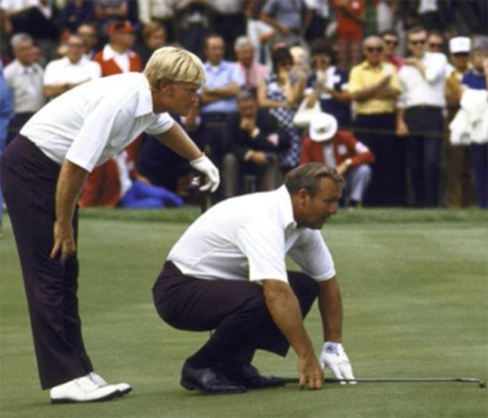 Jack Nicklaus and Arnold Palmer in the 1971 Ryder Cup
