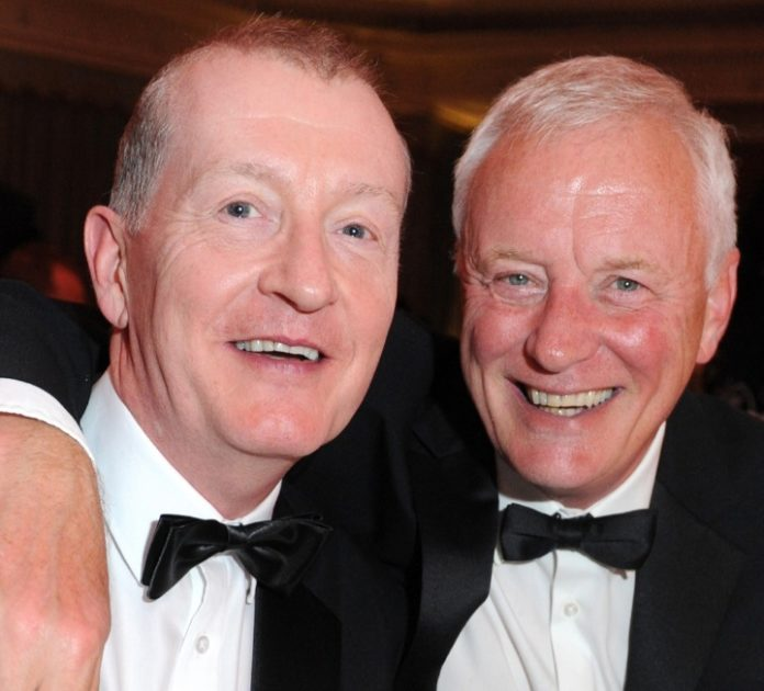 Barry Hearn (right) tested positive for coronavirus, pictured with Steve Davis.