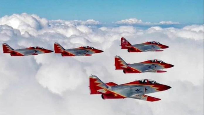 Eagle Patrol (Air Force Acrobatic Patrol) Santiago de la Ribera, San Javier, Murcia, pass through the sky in Pilar de la Horadada.