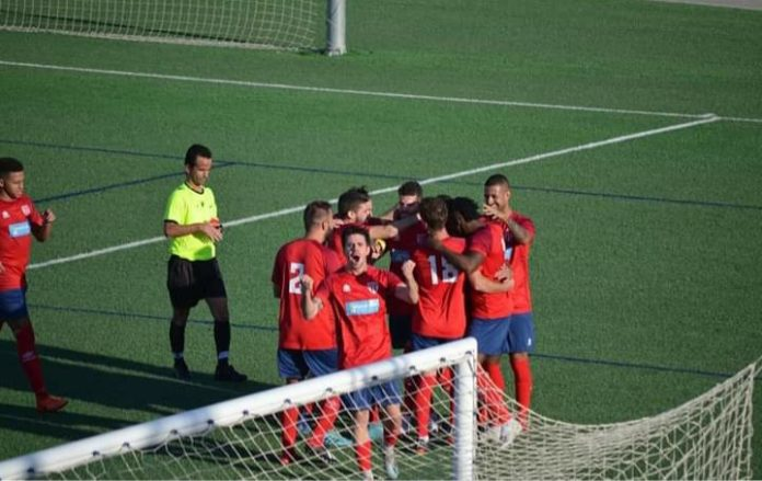 Racing San Miguel celebrate after scoring against Callosa.