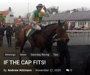 Cloth Cap: fromthehorsesmouth.info headline-tip won the Ladbrokes Trophy Chase at Newbury.