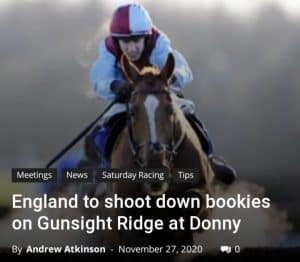 Gunsight Ridge: fromthehorsesmouth.info winning tip in the attheraces.com C4 Novices Hurdle at Doncaster.