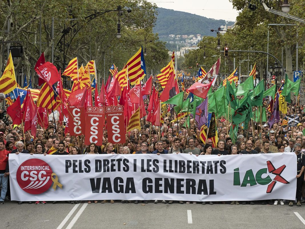 Workers demonstrating during Barcelona's General strike