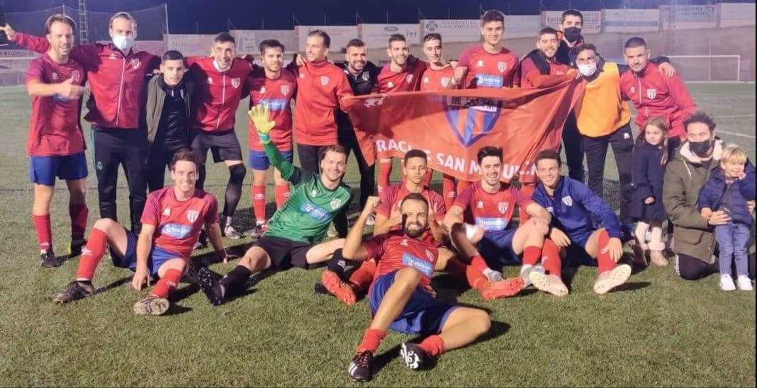 Racing San Miguel celebrate after 2-0 win against CF Monnegre de Muxtamel.