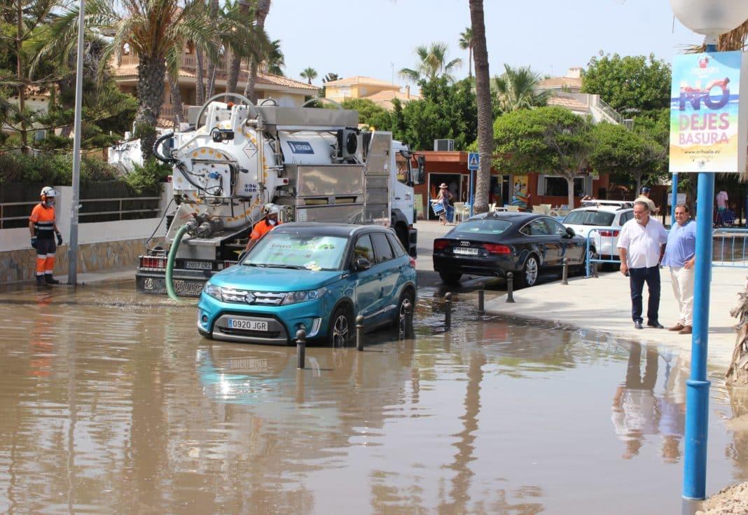 Councillors inspect the damage at La Zenia beach in 2019