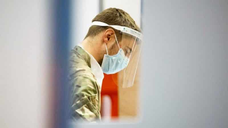 Royal Air Force personnel carrying out coronavirus testing in Merthyr Tydfil in Wales, as part of Operation Rescript 251120 CREDIT MOD