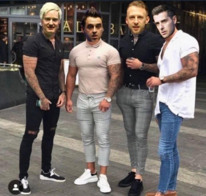 Above and below: The Bad Boys of Snooker Punditry: tattooed Steve Davis, Ken Doherty, Stephen Hendry, John Parrott, Neil Robertson, Ronnie O'Sullivan, Judd Trump and Mark Selby.
