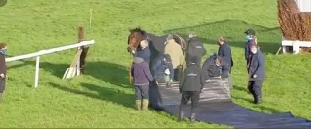 Speredek: Attended by staff after fall at Sandown.