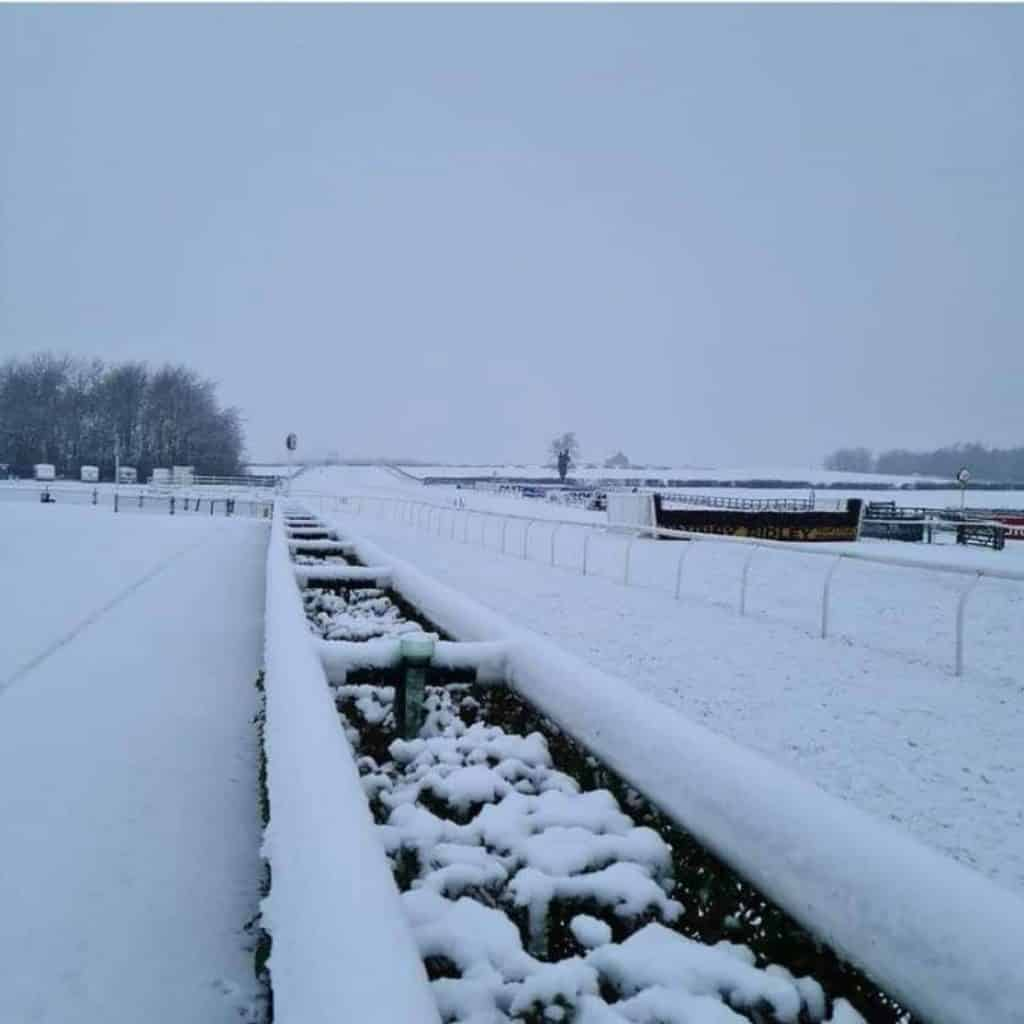 Racing at Sedgefield on January 15 is cancelled, due to the course covered in snow.