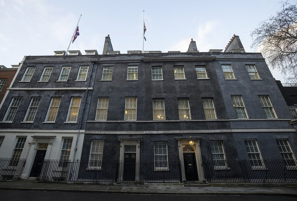 Tonight the Union Flag flies at half-mast above 10 Downing Street in London