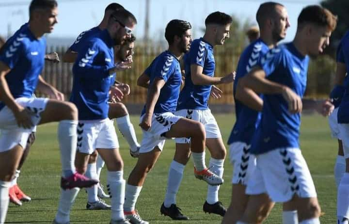 Coach Joserra Lopez puts Athletic Club Torrellano players through training at Elche's Sport City, prior to lockdown.