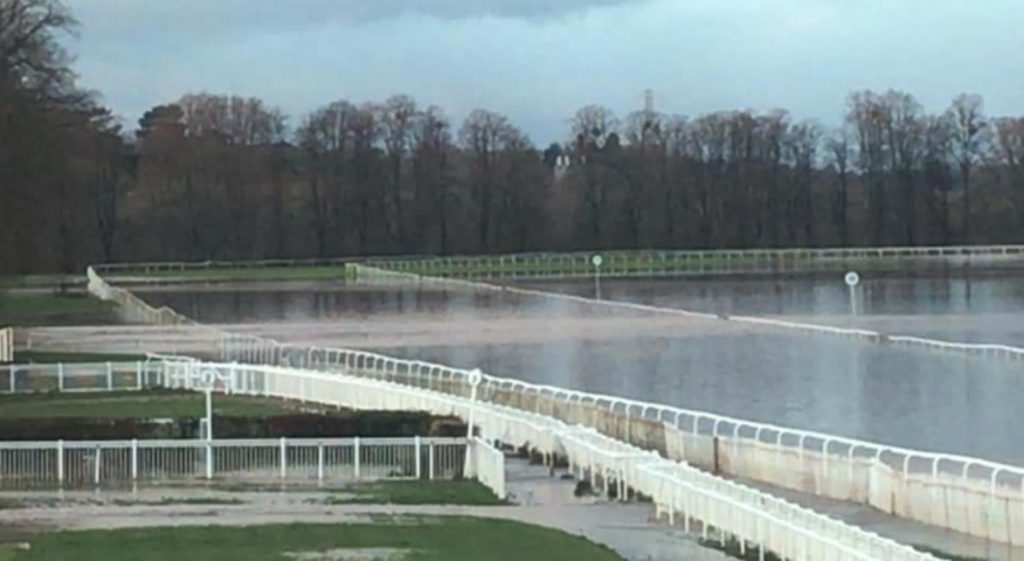 River Severn burst its banks flooding Worcester racecourse.