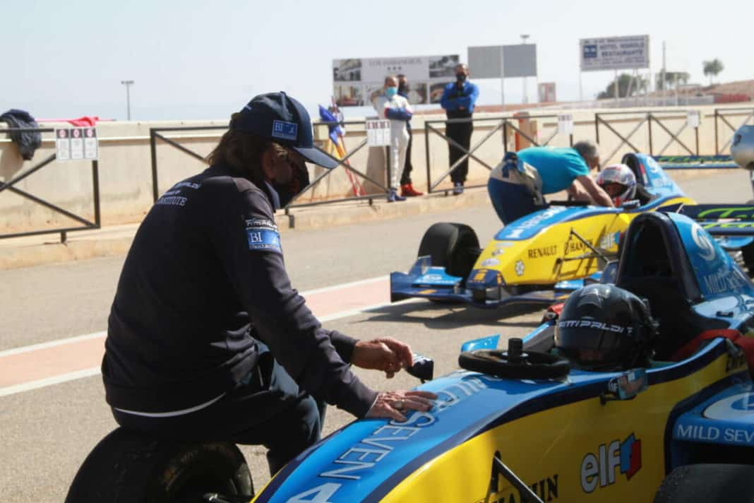 Emerson Fittipaldi testing on Cartagena circuit.
