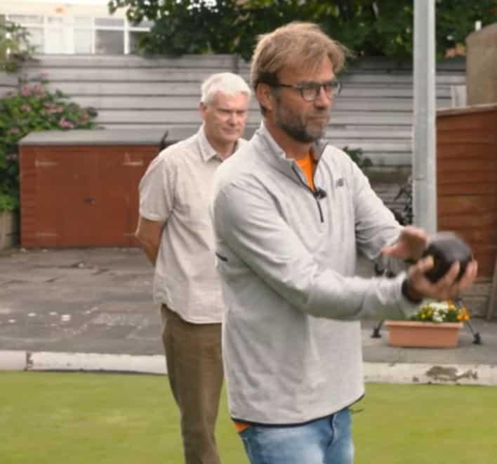 Jurgen Klopp at Formby Holy Trinity Bowling Club.