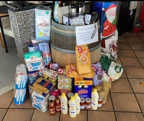 Food items purchased in aid to help needy families during the coronavirus.