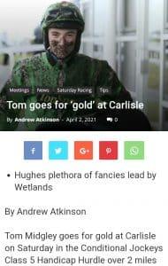 Headline tip masing-masing arah Coup De Gold 16-1 selesai ketiga di Carlisle di bawah Tom Midgley.