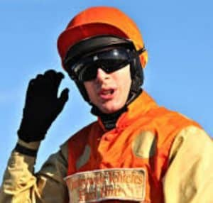 Tom Midgley in the winner's enclosure at Hexham after riding Tim Easterby trained Betty Baloo.