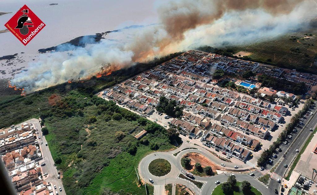Fire devastates hectares of Natural Park of the Laguna de Torrevieja
