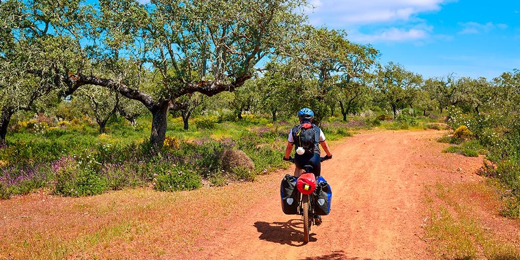 Cyclist following the Silver route or Via de la Plata which runs for 800 kms across Spain