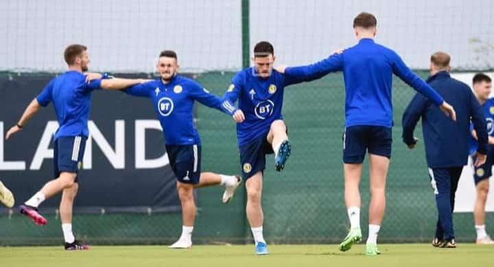 Scotland players in training at Pinatar.